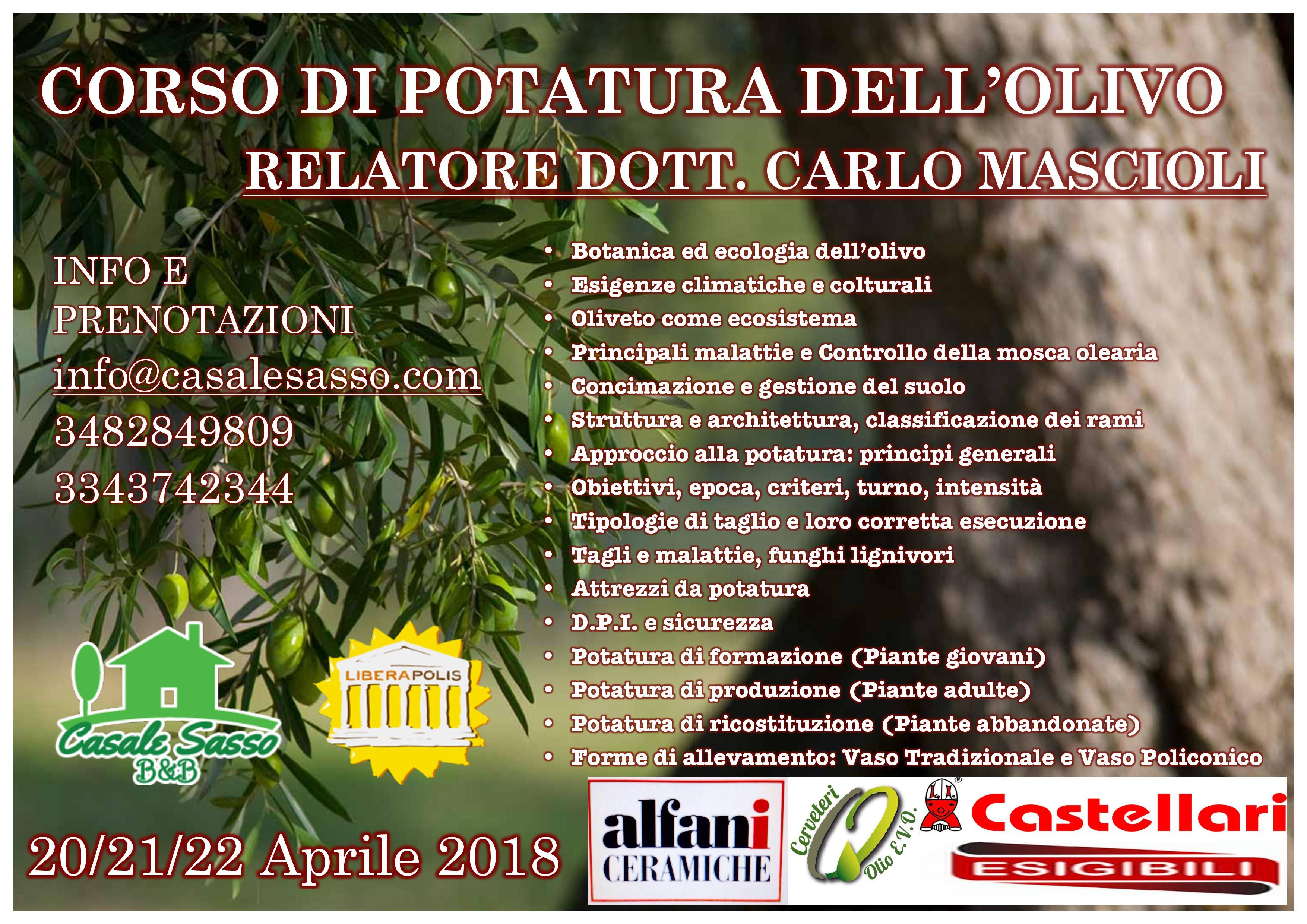 Corso Di Potatura Dell'Olivo 20/21/22 Aprile